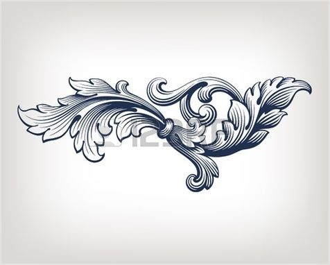 Vintage Baroque Scroll Design Frame Pattern Element Engraving Retro Style 123rf Ide Tato Ornamen Seni