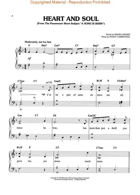 Sheet Music Heart And Soul Piano Solo With Images Sheet
