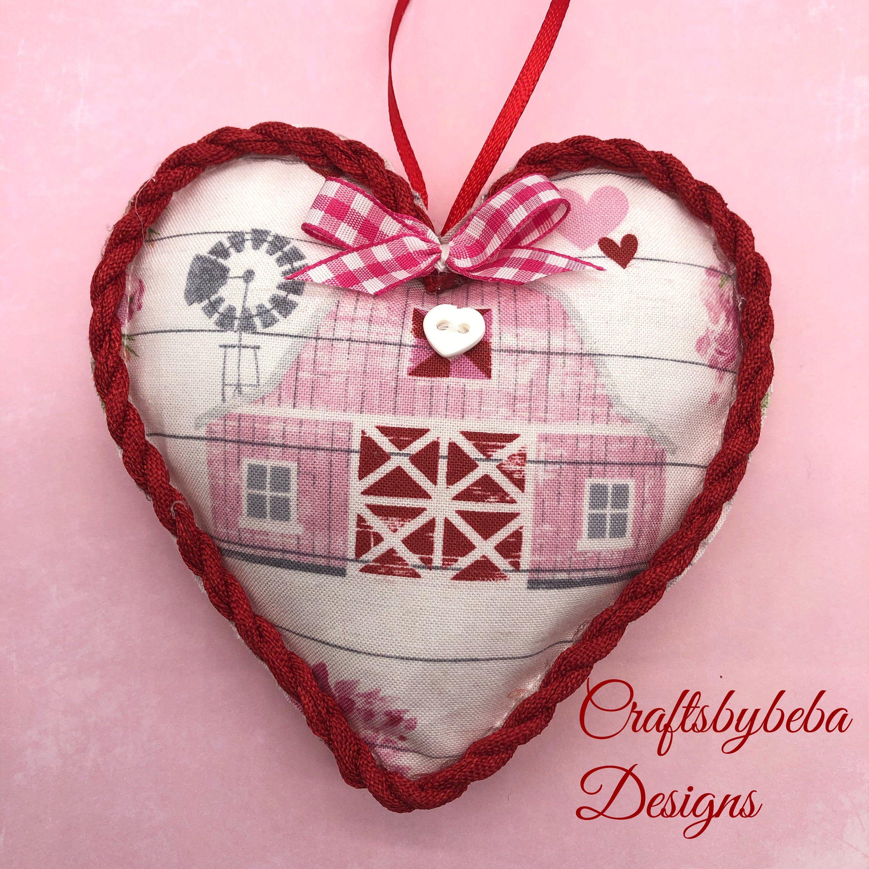Barn Valentine Ornaments Barn Hanging Hearts Ornaments Set Of 2 Hearts Valentine Fabric Hanging Hearts Red And Pink Valentine Hearts In 2020 Hanging Hearts Ornament Set Heart Ornament