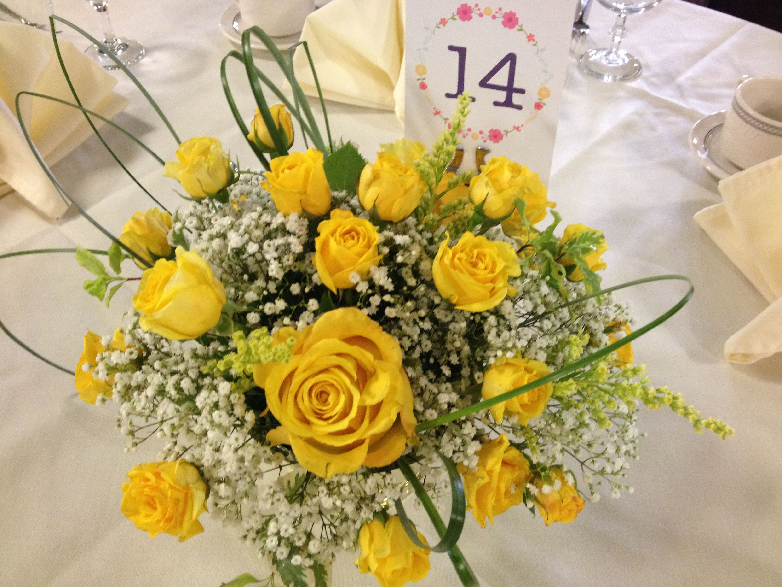 Yellow And White Centerpiece Yellow Roses And Babys Breath