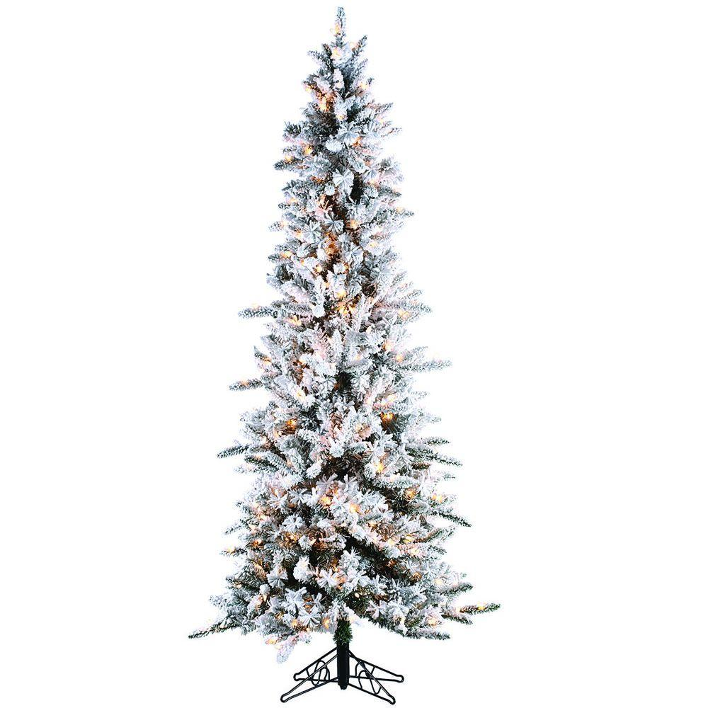 Sterling 7.5 ft. PreLit Flocked Narrow Pine Artificial