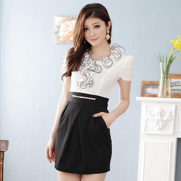 office clothing wholesale ladies dress k3413 White | thamihansika ...