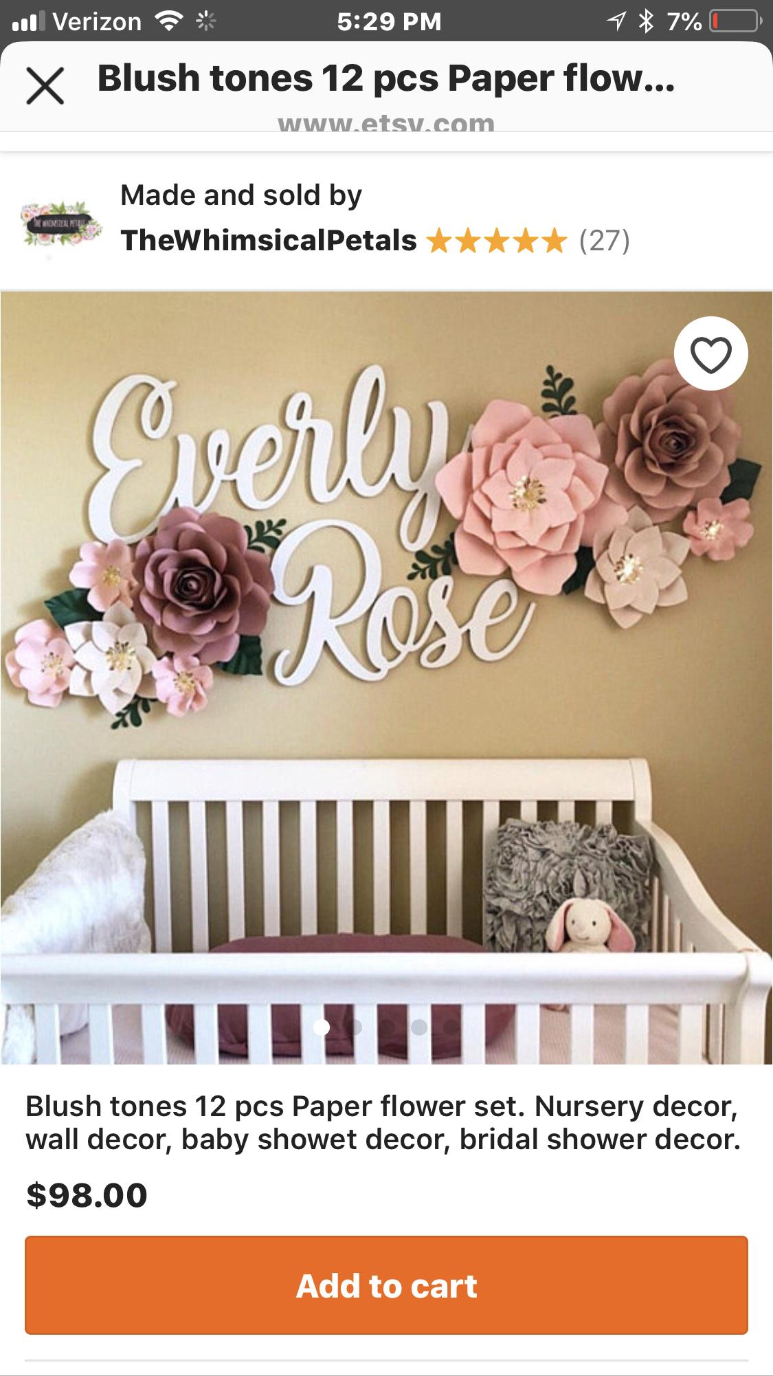 Nursery decor paper flower wall decor  Paper flowers  Pinterest