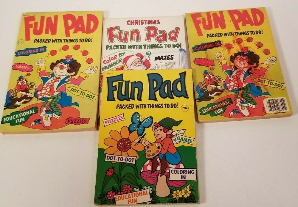 Lot Of 4 Vintage Fun Pad Packed with Thing to Do Puzzles