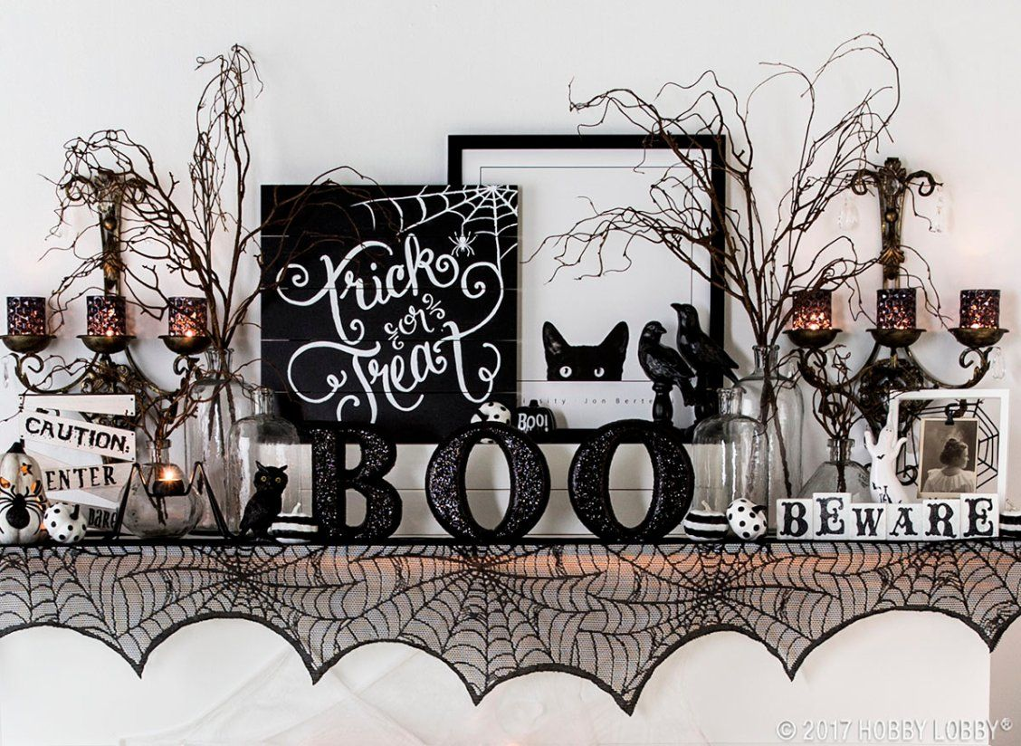 Create a spooky-cute halloween mantel Just add a bit of black and - Hobby Lobby Halloween Decorations