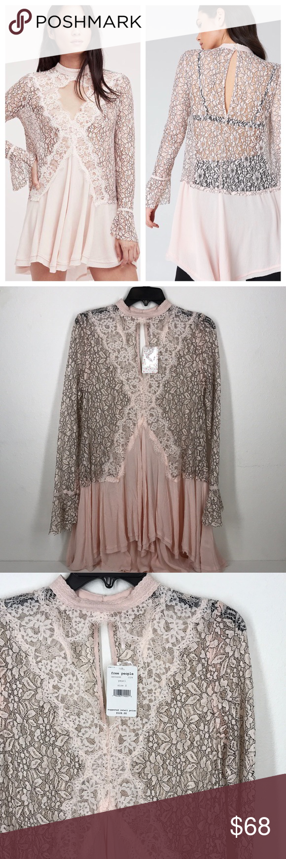 16097537e50 Free People tall tale lace tunic pink NWT XS&S This is Free People at its  best! Stunning pale pink tunic! Could be a dress if you have killer legs.