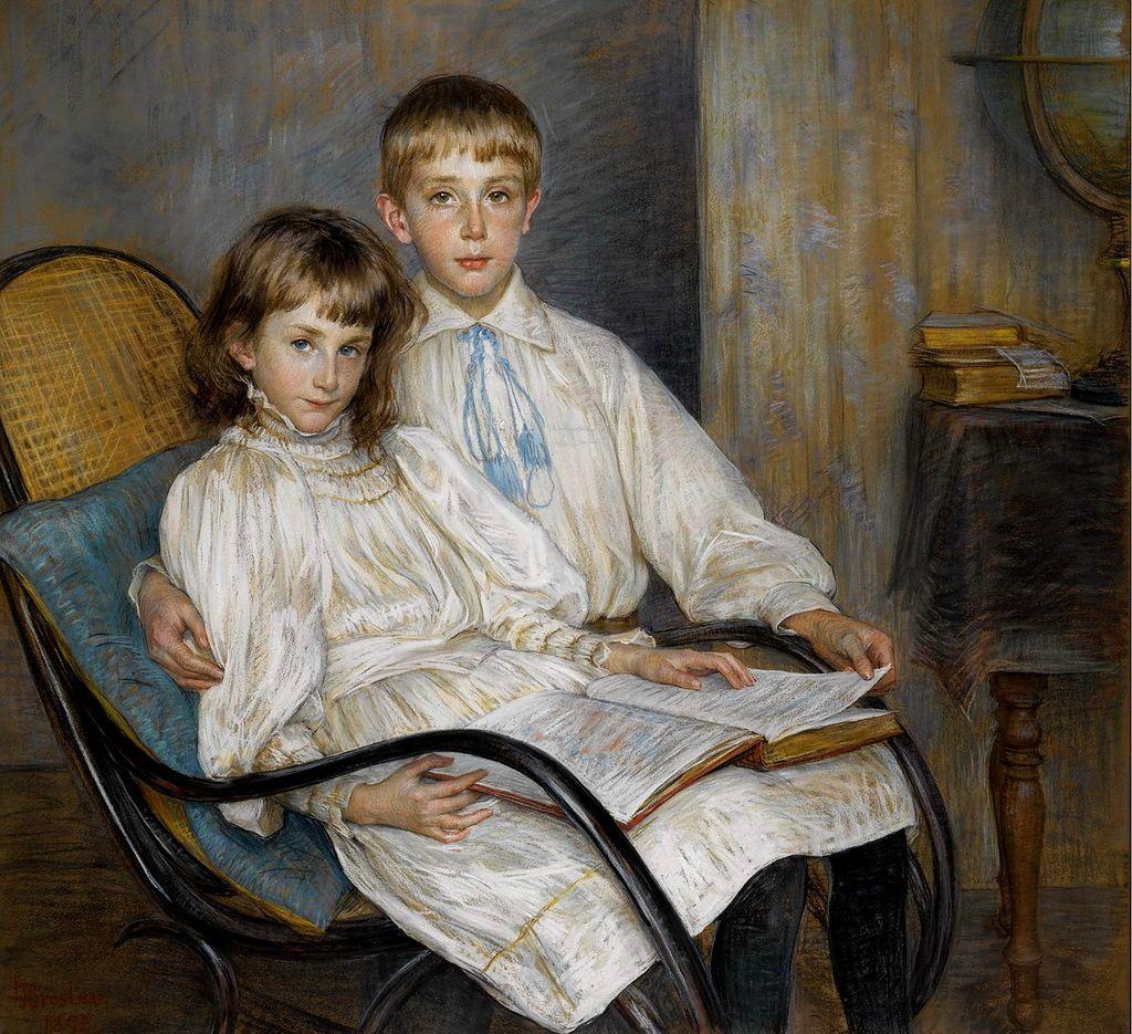 LOUISE BRESLAU (SWISS, 1856-1927) - ENFANTS ASSIS