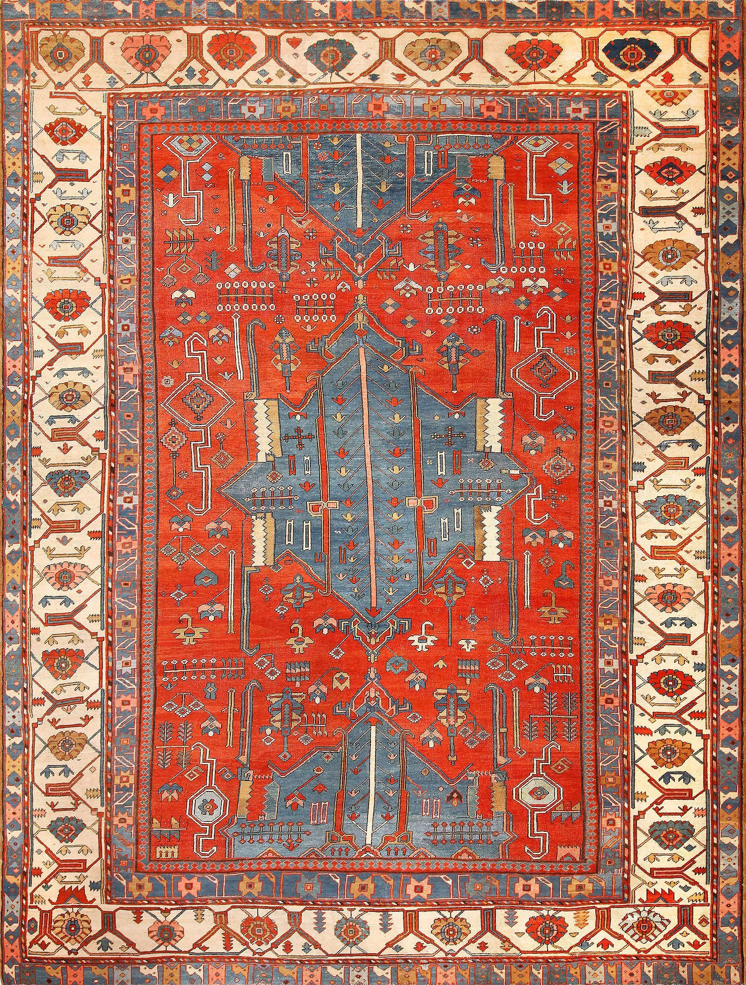 Click here to view this beautifully wovern room-sized Antique Tribal Persian Bakshaish Rug 49137 by Nazmiyal in New York City Area