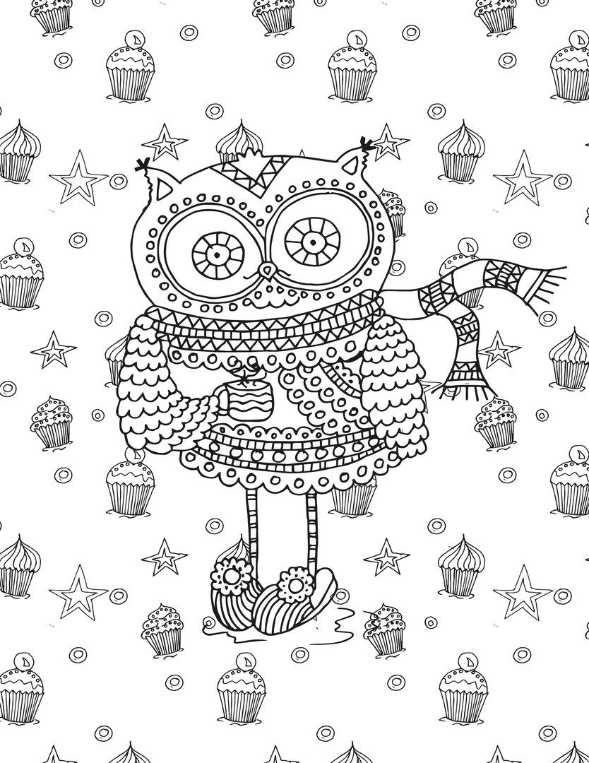 Owl and cupcakes coloring page Adult ColouringOwlsBirds