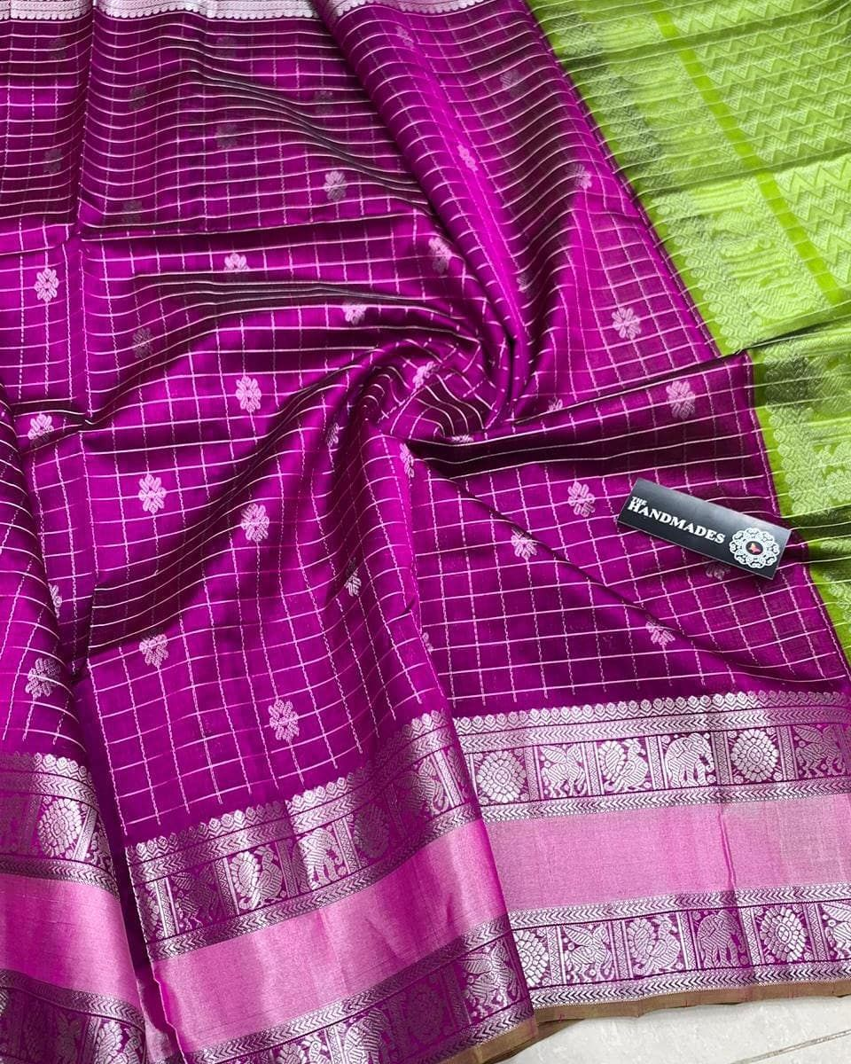 62cc78f9cec65  Kuppadam  Pattu  Sarees with  Kanjeevaram Borders and  Silver  Jari    Contrast Rich  Pallu   Contrast Plain  Blouse with Border Mhm  …