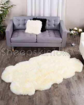 Sheepskin Area Rug Ivory White Four Pelt Quatro 4x6 Ft Home