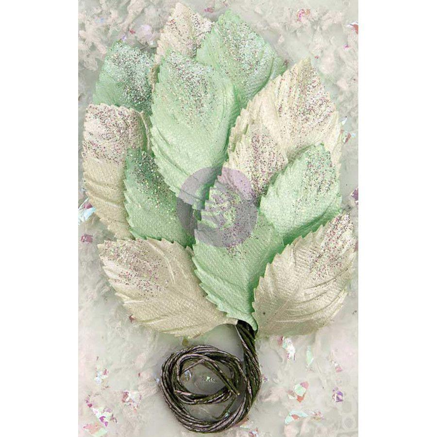 "Prima Marketing Sweet Peppermint Glittered Leaf Stems - Jingle Bells; Paper 8.25"""