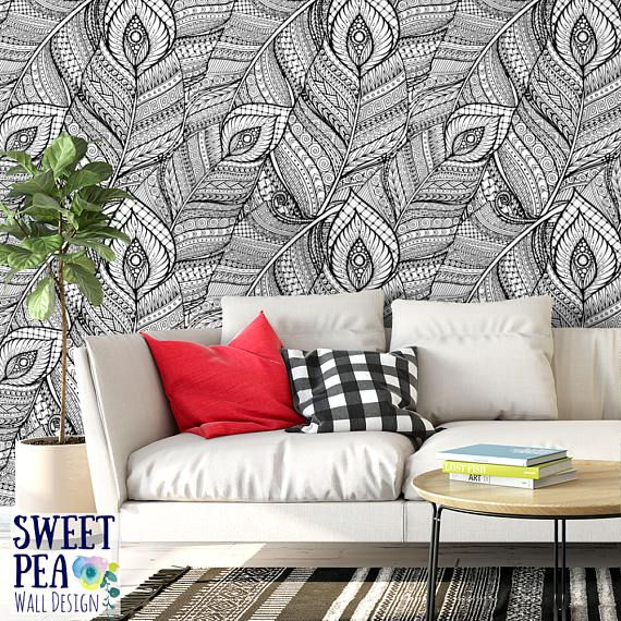 Boho Feather Removable Wallpaper T126 27 Etsy Damask Removable Wallpaper Removable Wallpaper Wall Design