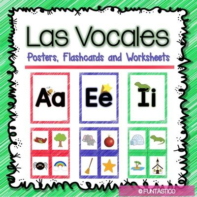 Las vocales posters flashcards and worksheets from funtastico colorful posters and flashcards to teach the vowels in spanish worksheets for all the vowels on each worksheet students will trace the vowel and cut and spiritdancerdesigns