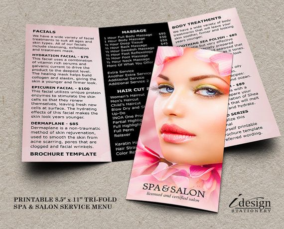 personalized spa and salon brochure template diy printable tri fold beauty salon brochure with service menu customized with your wording by