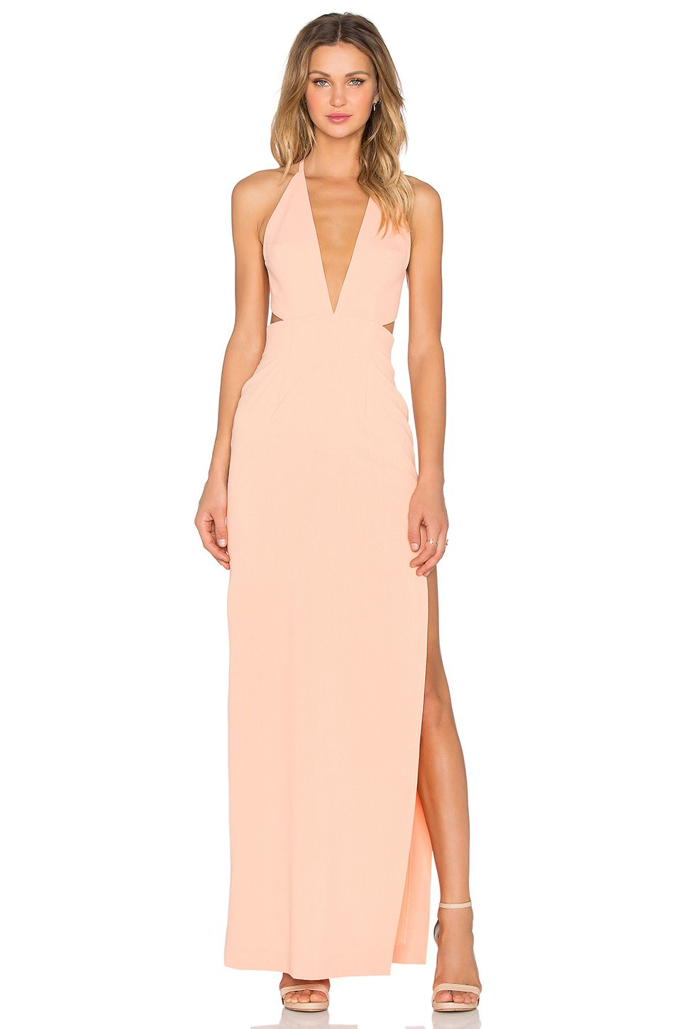 SOLACE London Hall Maxi Dress in Peach | Down to the ground | Pinterest