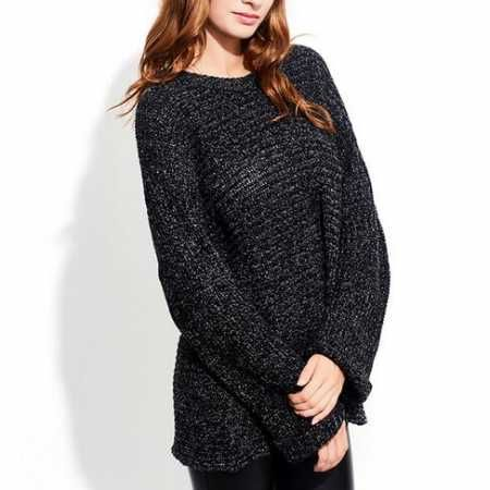 Boyfriend black ribbed knit sweater for women pullover sweaters ...