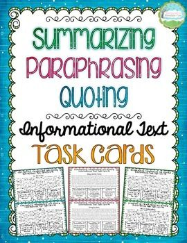 16 Half Page Informational Text Task Card With Three Prompt On Each To Help Your Student Quoting How Signal Begining Of Paraphrase
