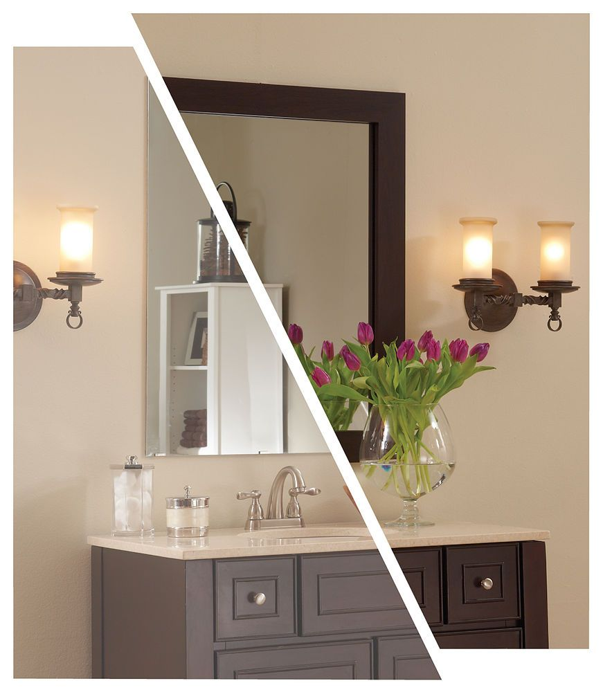 Framing a plate glass bathroom mirror with MirrorMate frames | Pinterest