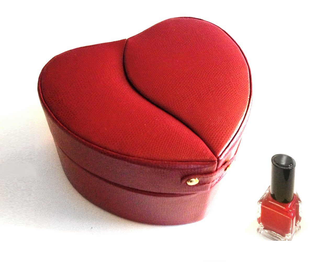 Heart Jewelry Box in Candy Apple Red - Genuine Leather