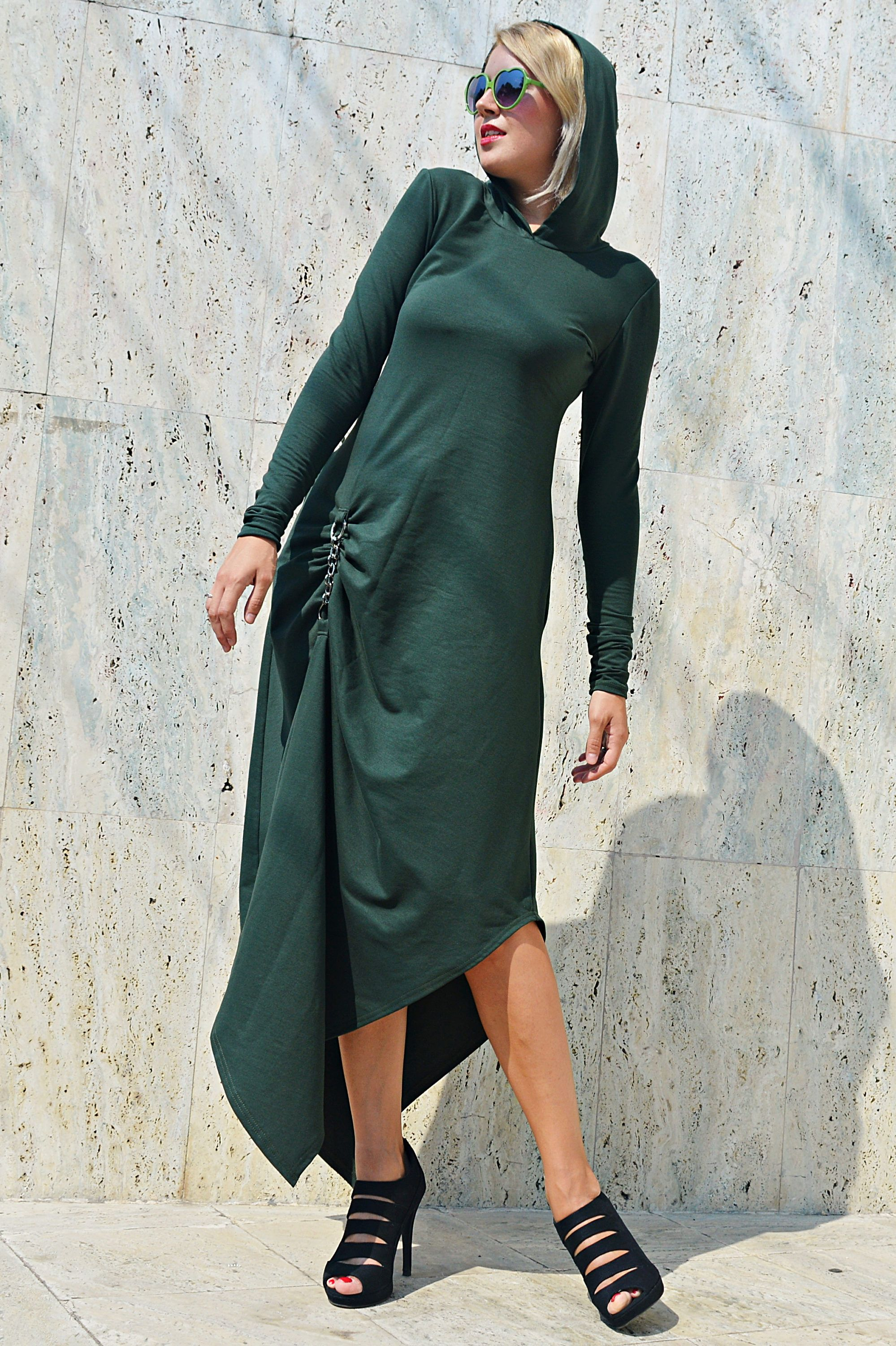 Forest green maxi dress army hooded dress green maxi hoodie tdk