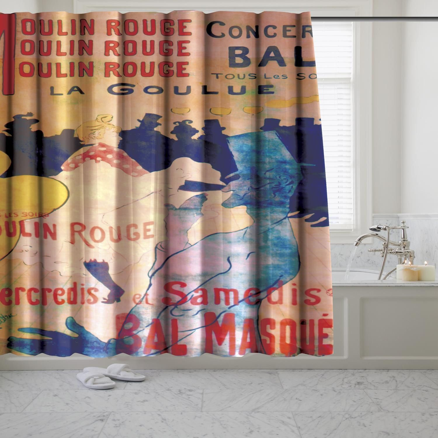Carnation Home Music Hall Museum Collection 100 Polyester Fabric Shower Curtain Size
