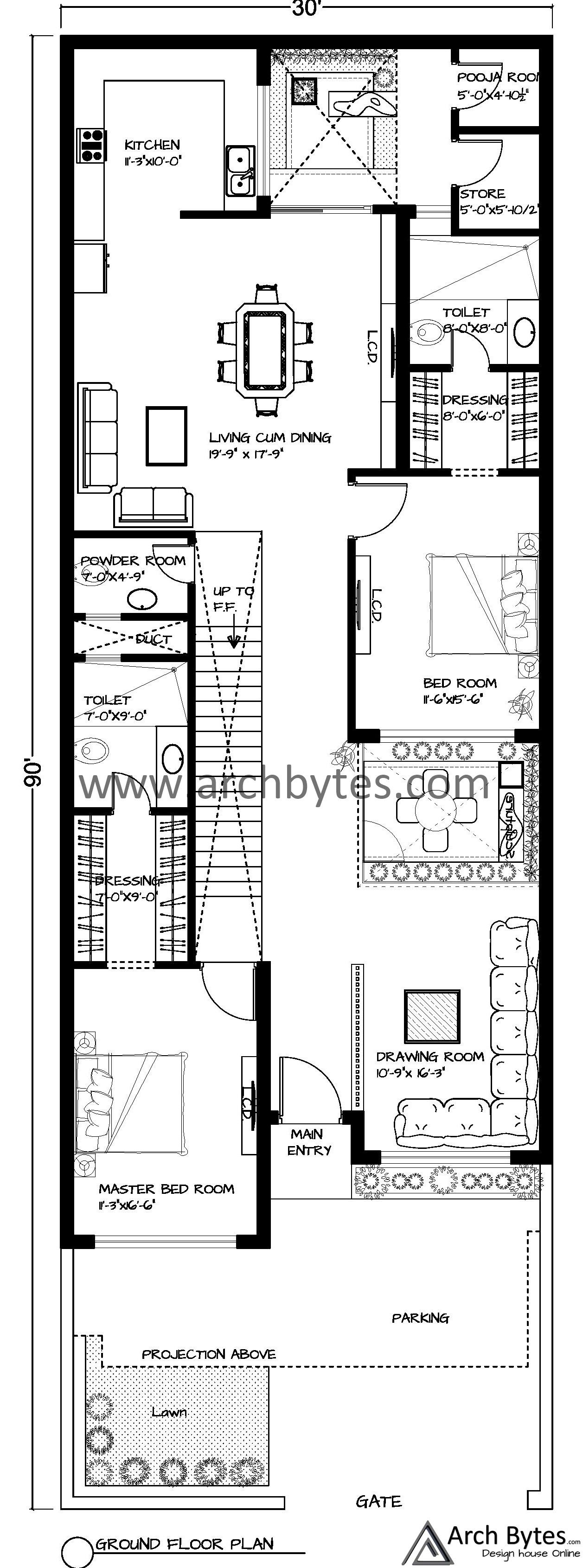 House Plan For 30 X 90 Feet Plot Size 300 Sq Yards Gaj House Plans House Ground Floor Plan