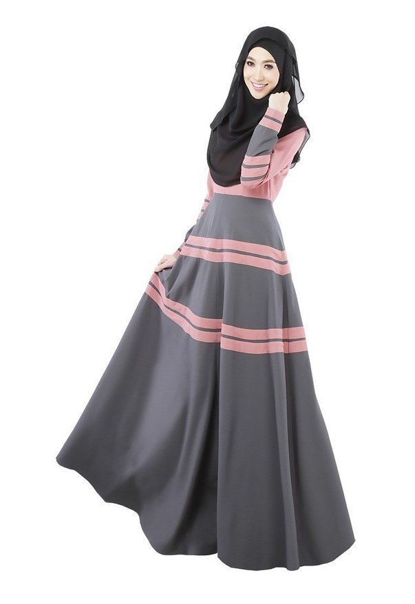 Fashion Muslim Malaysia Long Dress Clothing For Islamic Women Dubai Abaya - pink.. Personally I'd wear a pink and grey scarf with this..