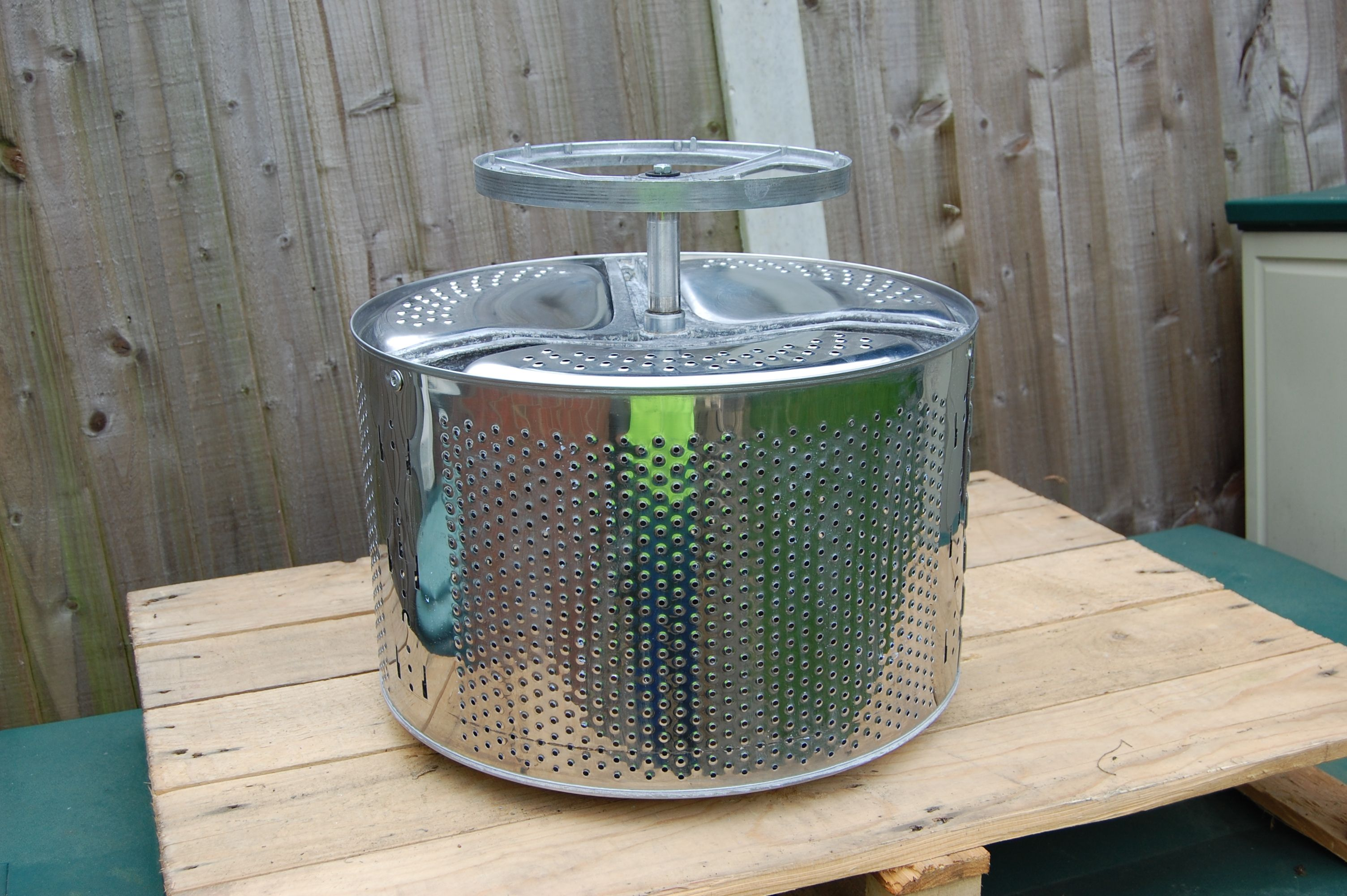 fire pit 1 from a used washing machine drum all stainless steel