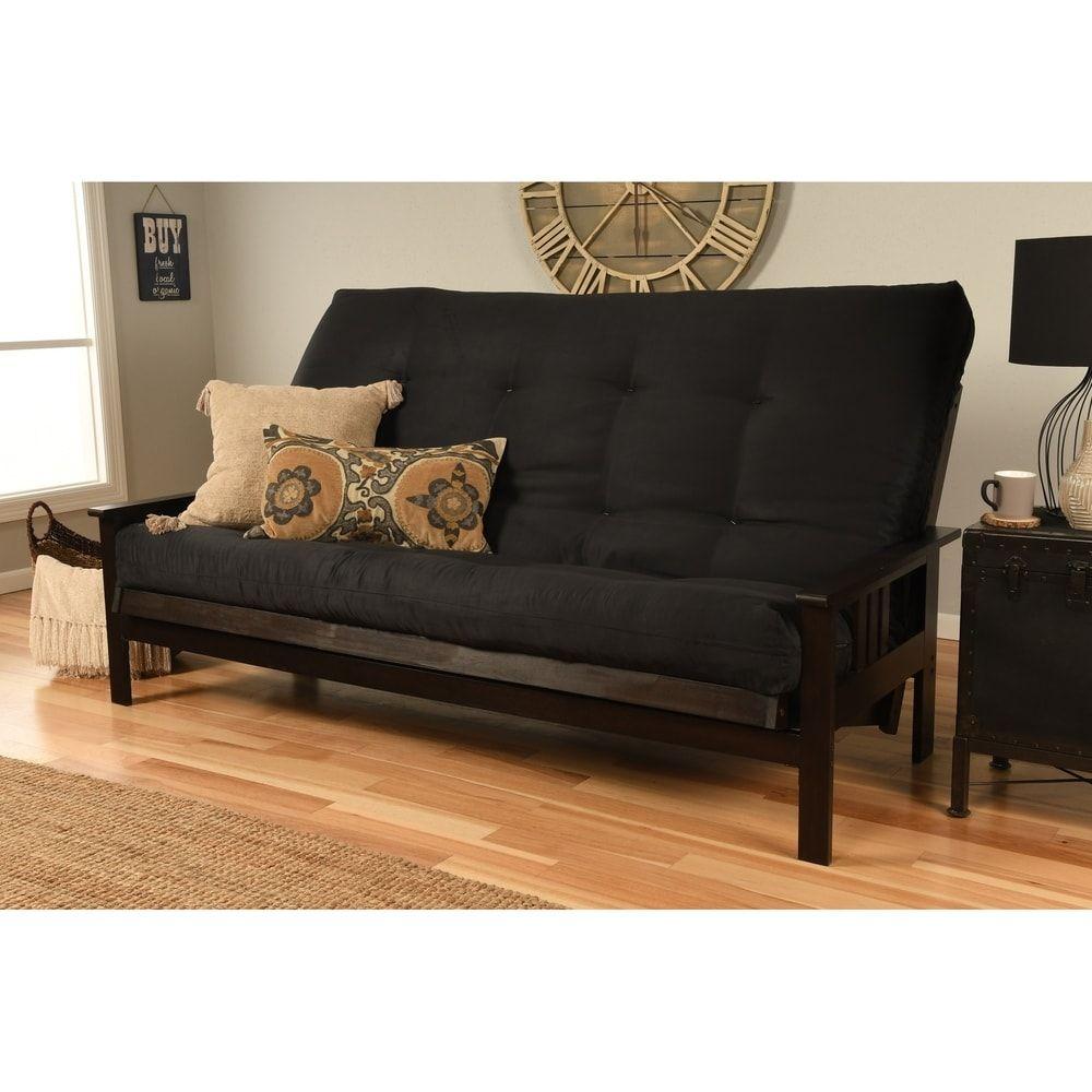 Porch Den Desoto Hardwood Suede Queen Size Futon Sofa Bed Red
