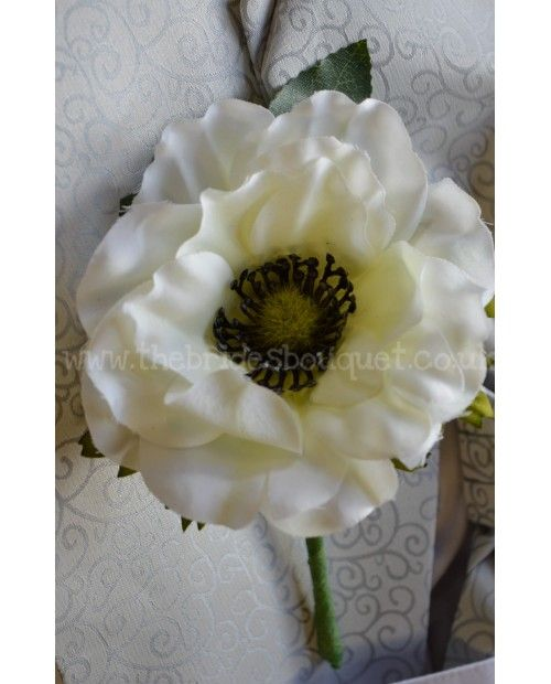Anemone Wedding Guest Onhole Corsage Ivory Silk Flower Pin For Groom Bestman