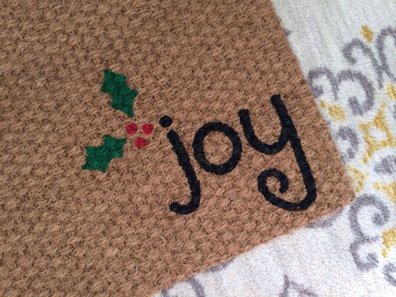 Joy Christmas Welcome Mat  Fun holiday by SweetSiennaDesigns