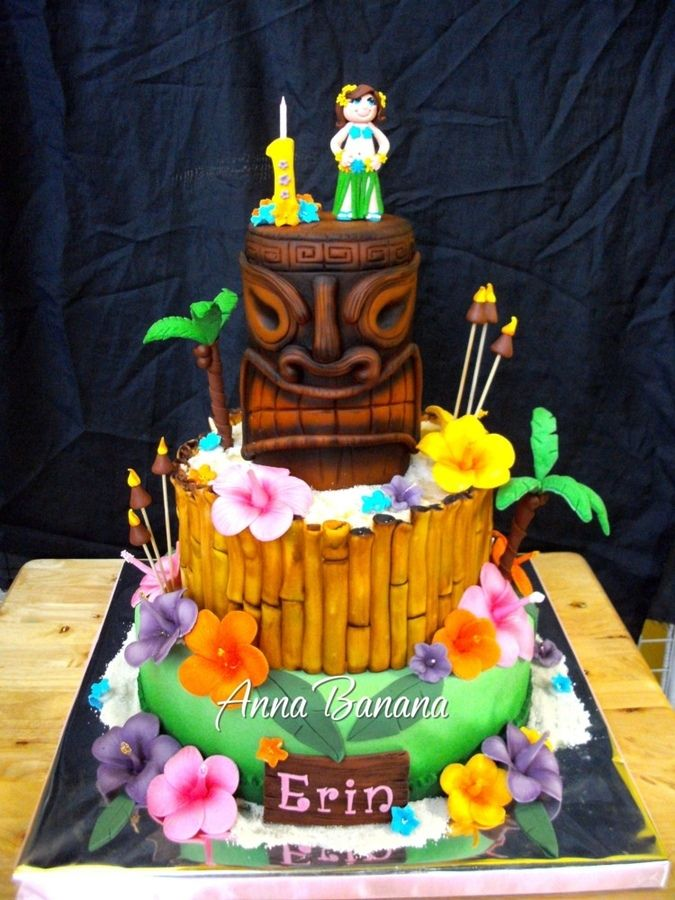Super Hawaiian Luau With Images Tiki Cake Luau Cakes Luau Birthday Personalised Birthday Cards Cominlily Jamesorg