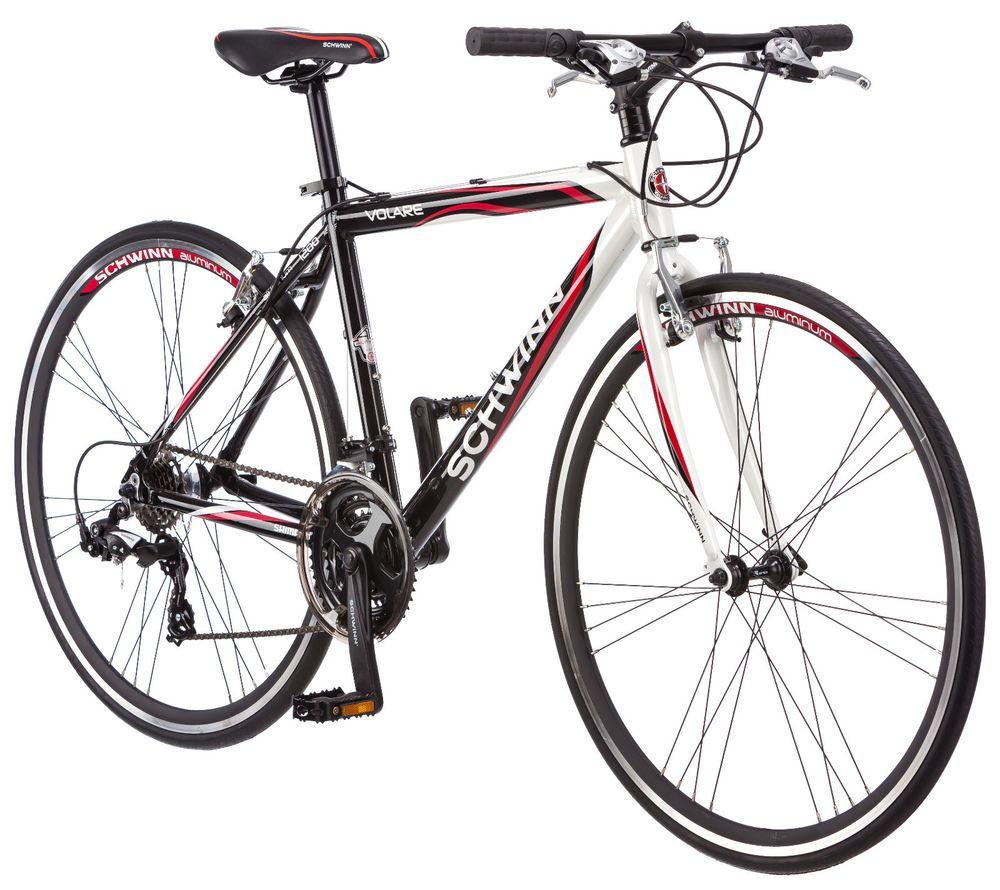 700c Schwinn Men S Volare 1200 Fitness Hybrid Bike White Black Red Schwinn Hybrid Bike Schwinn Bike Bike Riding Benefits