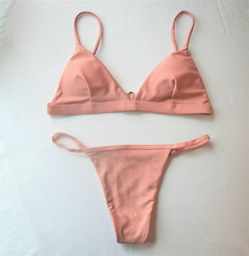 f19e5b899b5 Pink Women Bikini Set Bandage Push-Up Padded Swimwear Swimsuit ...