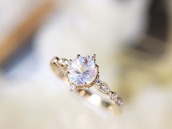 Vintage Moonstone Engagement Ring Diamond Moonstone Ring Moosntone