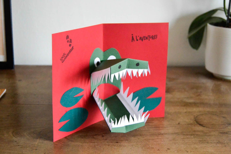 Carte Pop Up Crocodile Carte Anniversaire Scrapbooking Carte