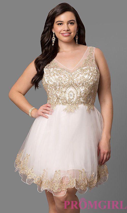 Plus-Size Short Prom Dress with Embellished V-Neck | Formal and ...