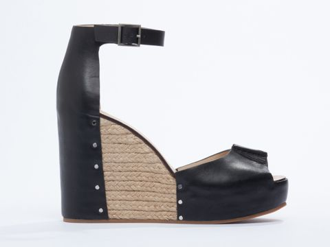 See By Chloe SB22121 leather and rafia wedge sandals  in Black at Solestruck.com