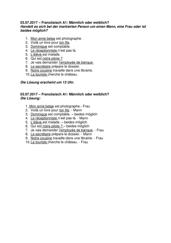 Französisch: männlich oder weiblich? (mit Lösung) ab A1