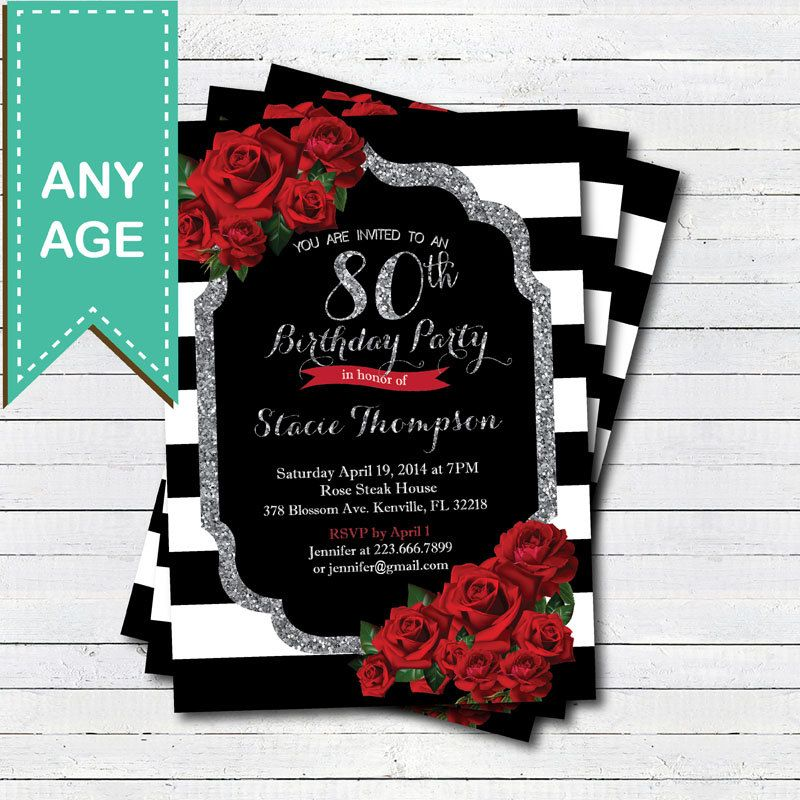 80th Birthday Invitation For Lady Red Rose Black And Silver