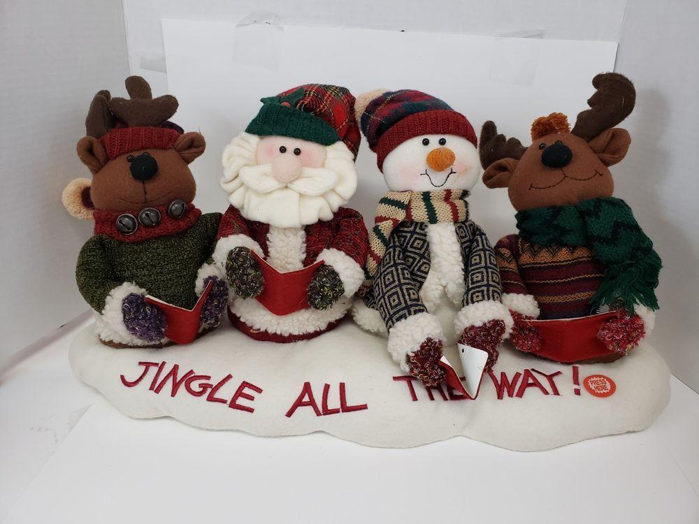 Christmas Jingle Bell Singers Plush Musical Santa Reindeer Snowman Carolers Christmas Jingles Santa And Reindeer Animated Christmas