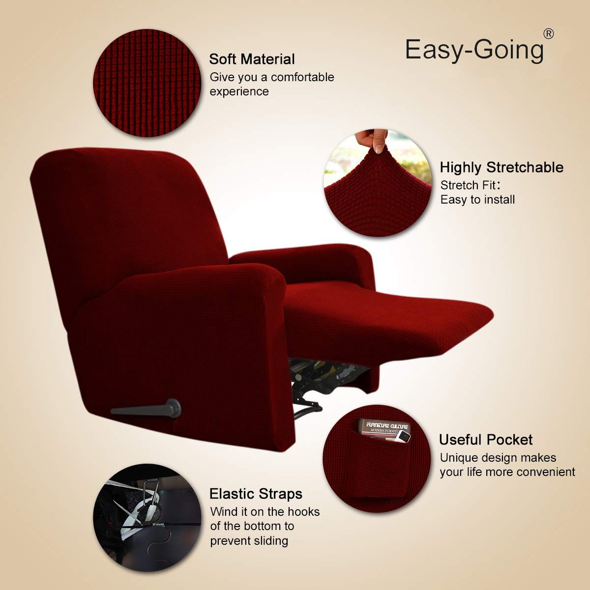 Awesome Easygoing Recliner Stretch Sofa Slipcover Sofa Cover 4Pieces Bralicious Painted Fabric Chair Ideas Braliciousco