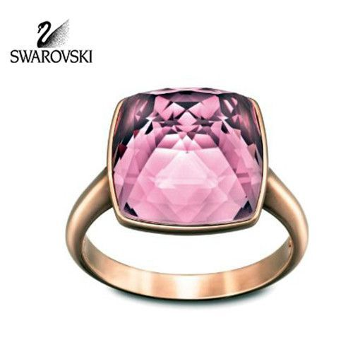 Swarovski Crystal Antique Pink TEMPO Ring Rose Gold Plated