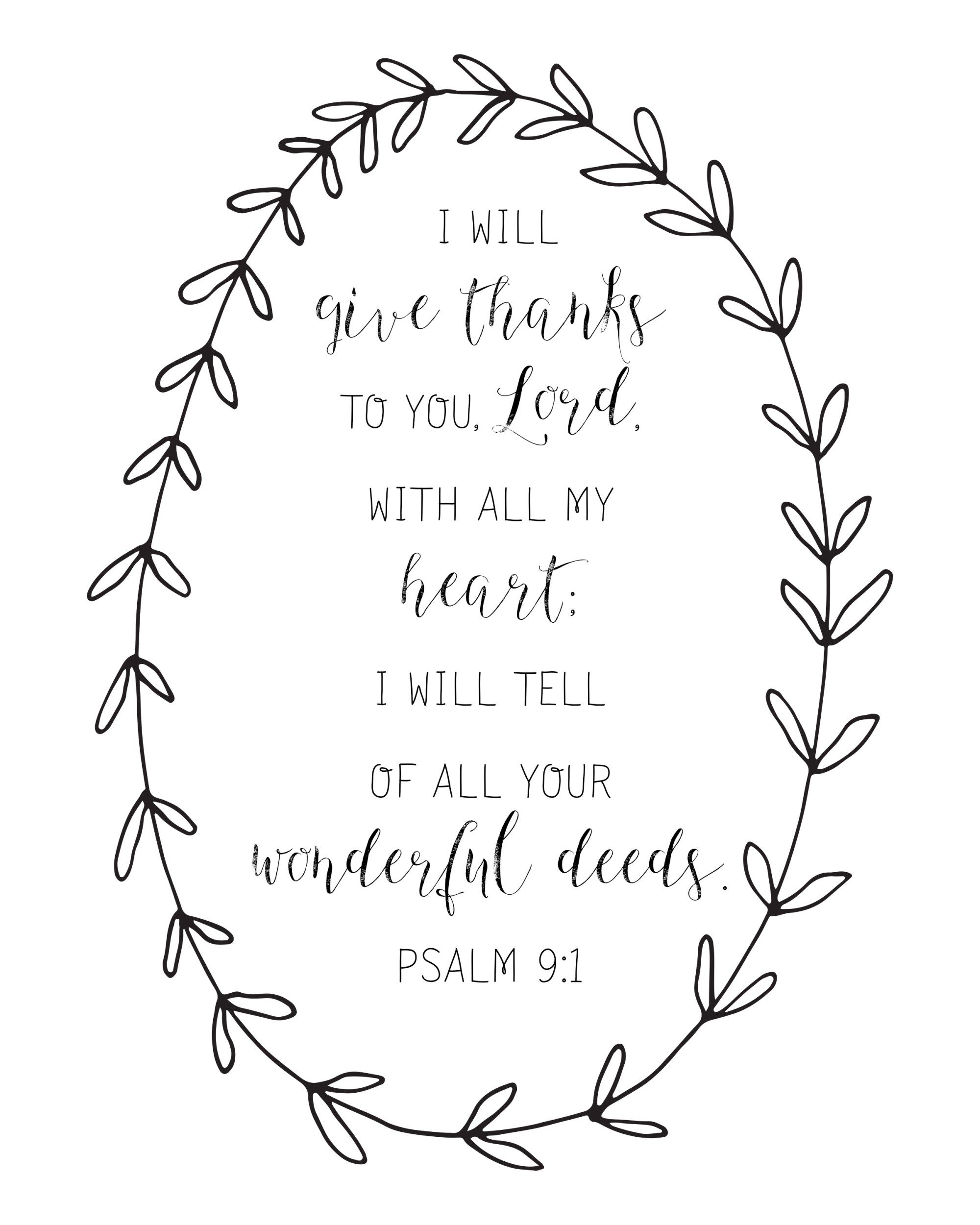 4 Thanksgiving Free Printables Bible Verses Amp Quotes 1 Thessalonians 5 18 Psalm 9 1 Gather