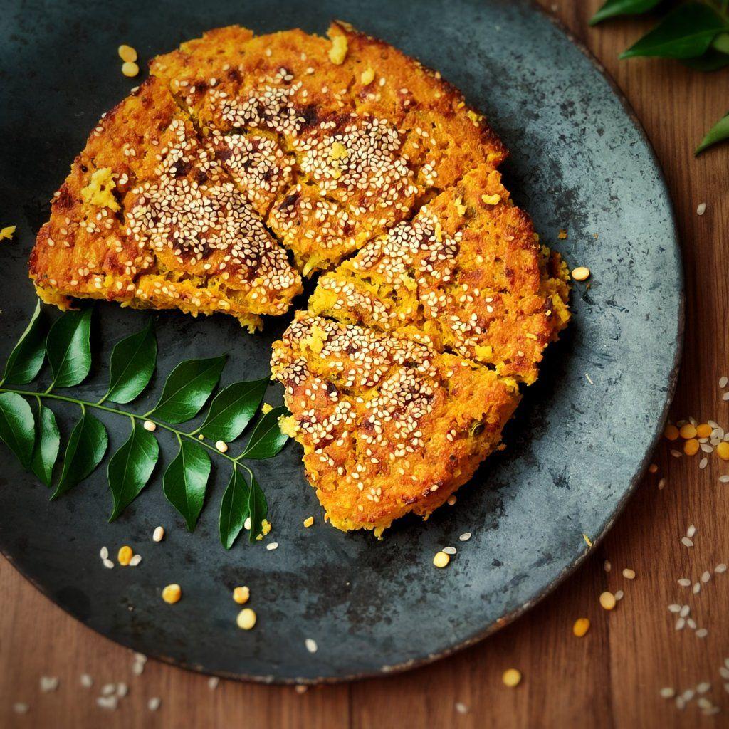 Baked handvo gujarati savoury cake with rice lentils