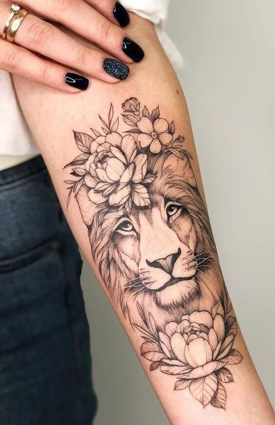 15+ Best Lion and Flowers Tattoo Designs -   18 beauty Flowers tattoo ideas