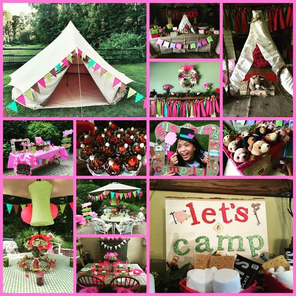 Glamping Camping Sleep Over Birthday Girl Tween Party Ideas