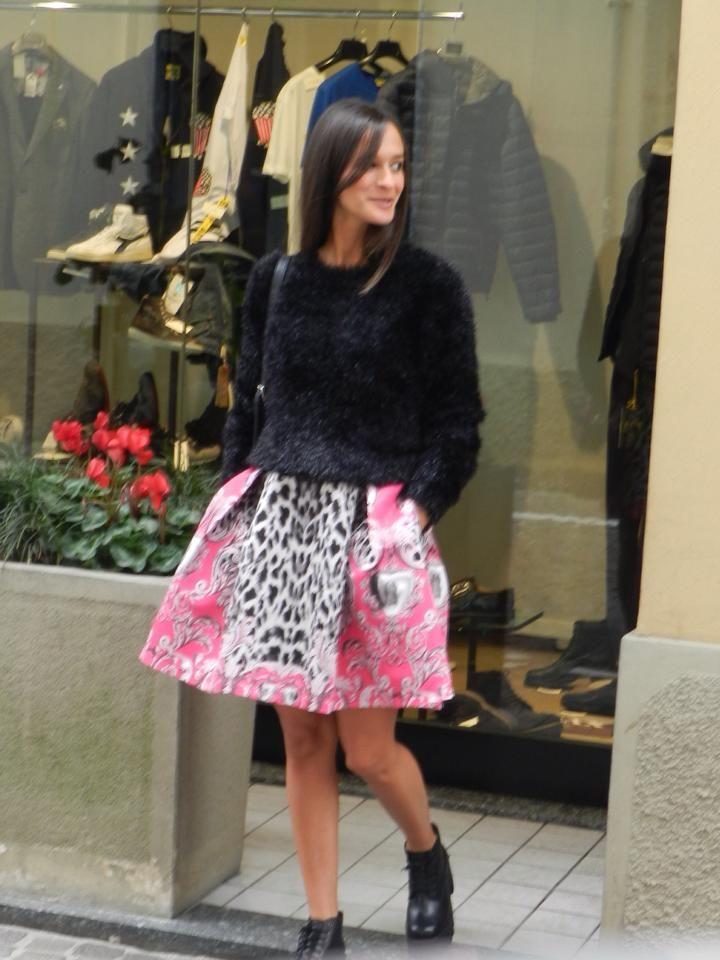 Again, the beautiful Chiara Pozzoli wearing  Naughty Dog FW1415 lurex pull and baroque animalier skirt! Thanks to Maggioni Calzature e Abbigliamento! We ♥ it!