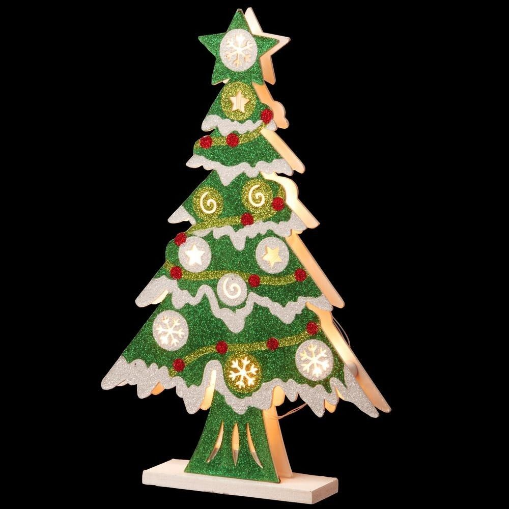 Pre-Lit Wooden Christmas Tree with 10 Warm White LED Lights Holiday ...